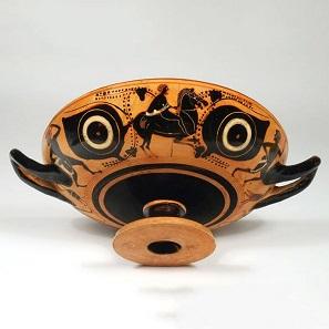 No. 36. Athenian black figure Eye-Cup. 27,5 cm including handles. Greek, Athenian - c. 500 B.C. Estimate: 7,500-9,800 Euro.