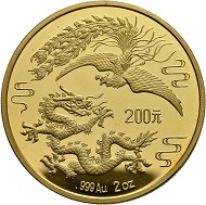 Lot 2100: China. 200 Yuan 1989. Dragon and Phoenix. Proof. Estimate: CHF 6,500. Hammer Price: CHF 105,000.