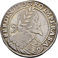 Lot 4213: RDR. Ferdinand III., 1637-1657. Half thaler 1656. Prague. Very fine. Estimate: CHF 400. Hammer Price: CHF 22,000.