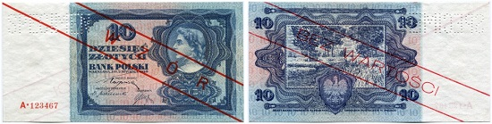Lot 7447: Poland. Bank Polski 10 Zlotych January 2, 1928. Pattern. Uncirculated. Estimate: CHF 300. Hammer Price: CHF 2,600.