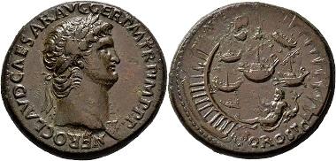 Lot 170: Roman Imperial Coins. Nero, 54-68. Sestertius 64 (?), Rome. Very fine. Estimate: 6,000 EUR. Hammer price: 25,000 EUR.