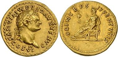 Los 223: Römische Kaiserzeit. Vespasianus für Domitianus. Aureus 79, Rom. Vorzüglich. Schätzung: 3.500 EUR. Zuschlag: 14.000 EUR.