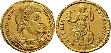 Los 793: Römische Kaiserzeit. Magnentius für Decentius. Goldmedaillon zu 2 Solidi 352/353, Trier. Vorzüglich. Schätzung: 100.000 EUR. Zuschlag: 240.000 EUR.