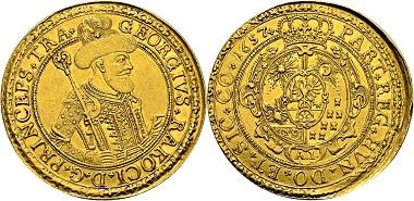 Los 2215: Siebenbürgen, Fürstentum. Georg Rákóczi II., 1648-1660. 10 Dukaten 1657 AI, Weißenburg. Vorzüglich. Schätzung: 40.000 EUR. Zuschlag: 93.500 EUR.