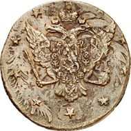 Lot 6046: Russia. Peter III, 1762. Cu. 10 kopecks 1762. Overstruck after the debasement from January 7, 1762. Very fine to extremely fine. Estimate: 350 euros. Hammer price: 3,000 euros.
