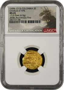NGC has created special insert labels for the 1715 Plate Fleet coins recovered on the 300th anniversary, such as this Charles II type (1694-1713) gold 2 escudos struck in Colombia, graded NGC MS 65. Photo: © NGC.