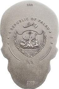 Palau / Skull No1 / 5 Dollars / Silber .999 / 1 Unze / 38,61 mm / Antik-Finish / Auflage: 1750.