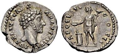 Los 311: Marcus Aurelius, als Caesar, 138-161. Denar, 153-154. C. 673. Gutes vorzüglich. 200 Euro.
