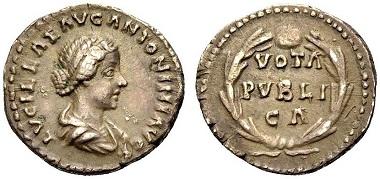 Los 342: Lucilla, (gest. 182). Denar. 164-169. RIC III,276,791. Sehr schön. 120 Euro.