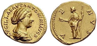 Los 333: Lucilla, (gest. 182). Aureus, 164-169. RIC III,276,783. Erworben von M. Brandt, Stuttgart. Sehr schön. 3.500 Euro.