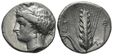 Lot 22: Lucania. Metapontum. Nomos, circa 340-330. Good Very Fine. Starting Bid: 150 GBP.