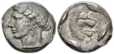 Lot 69: Sicily. Leontini. Tetradrachm, 440-430. Extremely fine/Good. Starting Bid: 1,000 GBP.