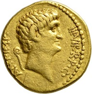 Los 268: Römische Republik. Marcus Antonius mit Cn. Domitius Ahenobarbus. Aureus, 40. Äußerst selten. Fast vorzüglich. Schätzpreis: 40.000 Euro. Startpreis: 24.000 Euro.