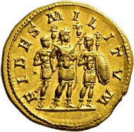 Los 388: Elagabal, 218-222. Aureus, 218/9. Äußerst selten. FDC. Schätzpreis: 15.000 Euro. Startpreis: 9.000 Euro.