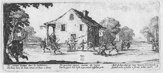 Marodierende Soldaten. Zeitgenössischer Stich von 1633 aus der Hand von Jacques Callot.