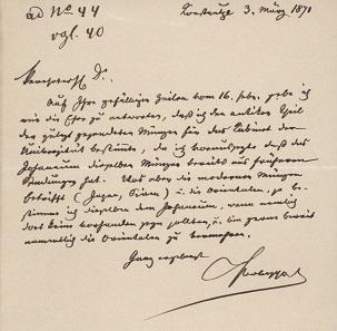 Schreiben Anton Prokeschs von Osten vom 3. März 1871 über die Schenkung von Münzen an das Joanneum und die Grazer Universität, UMJ, AArchMk, Archiv, Foto: UMJ.