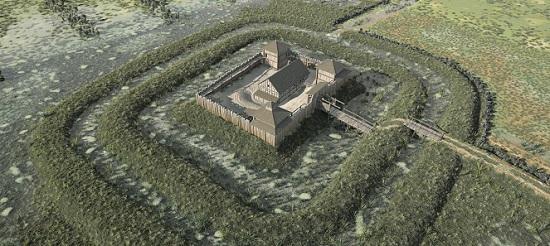 Burg Rouelbeau, Rekonstruktion des Baubefundes in Holzkonstruktion um 1340 als 3-D-Modell. © on-situ/ Genf, Service cantonal d'archéologie, 2016.