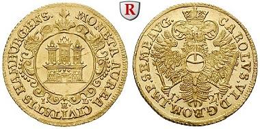 Altdeutschland. Hamburg, Stadt. Dukat 1727. Vorzüglich-stempelfrisch. 3.500 EUR.
