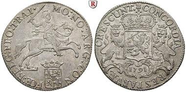 Niederlande, Utrecht. Dukaton (Silberner Reiter) 1791. Vorzüglich-stempelfrisch. 1.650 EUR.