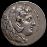 Silver tetradrachm of Alexander III of Macedon from the Babylon mint, probably struck between 327 and 323 BC. Photo: © Ashmolean Museum, University of Oxford.