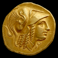 Gold stater of Alexander III of Macedon from the Amphipolis mint, probably struck between 330 and 320 BC. Photo: © Ashmolean Museum, University of Oxford.