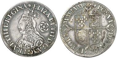 Elisabeth II., 1558-1603. 6 Pence 1562, London. Aus Auktion Künker 241 (2013), 2245.