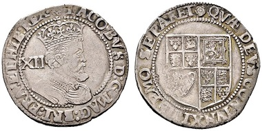 Jakob I., 1603-1625. Shilling o. J. (1619-1625). Aus e-Auction Rauch 18 (2015), 1366.
