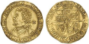 Jakob I., 1603-1625. 1/2 Laurel (= 10 Shillings) o. J. (1619-1620). Aus Auktion Künker 230 (2013), 6650.