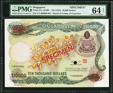 Lot 26106: Singapore. Board of Commissioners of Currency USD 10,000 ND (1973) Pick 8As Specimen. Estimate: 20,000-25,000 USD.