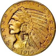 Lot 2149: USA. Indian Half Eagle 1916-S. MS-66 (PCGS). Sold: 82,250 USD.