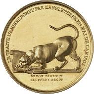 Los 1277: Hannover. Goldmedaille 1830, von R. V. Jeuffroy, auf den Bruch des Vertrags von Amiens und die Besetzung von Hannover durch Consul Napoleon. Äußerst selten. Wohl Unikum in Gold. Vorzüglich bis Stempelglanz. Taxe: 5.000 GBP. Zuschlag: 30.000 GBP.
