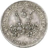Los 1315: Henneberg. 1/2 Reichstaler 1696, Ilmenau. Dickstück, geprägt mit den Stempeln des 1/4 Reichstalers. Ausbeute der Gruben in Ilmenau. Äußerst selten, wohl Unikum. Fast vorzüglich. Taxe: 3.000 GBP. Zuschlag: 11.000 GBP.