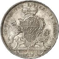 Los 1426: Nassau-Weilburg. Karl August, 1719-1753. Reichstaler 1752, Weilburg. Ausbeute der Mehlbacher Gruben. Sehr selten. Vorzüglich / Stempelglanz. Taxe: 2.500 GBP. Zuschlag: 8.000 GBP.
