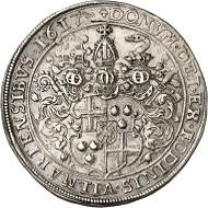 Los 1583: Trier. Lothar von Metternich, 1599-1623. Reichstaler 1617, Koblenz. Ausbeute der Vilmarer Gruben. Äußerst selten. Fast vorzüglich. Taxe: 12.500 GBP. Zuschlag: 17.000 GBP.