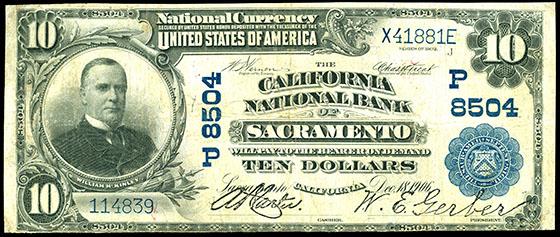 $10 National Bank note, California National Bank of Sacramento.