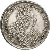 Los 1591. Württemberg. Eberhard Ludwig, 1693-1733. Reichstaler 1728, Stuttgart. Ausbeute der Grube Dreikönigstern. Sehr selten. Sehr schön. Taxe: 300 GBP. Zuschlag: 6.000 GBP.