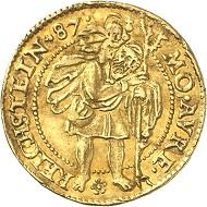 Los 1637: Österreichische Standesherren. Wilhelm, 1581-1592. Dukat 1587, Reichenstein. Ausbeute der Reichensteiner Gruben. Sehr selten. Sehr schön. Taxe: 1.500 GBP. Zuschlag: 9.000 GBP.