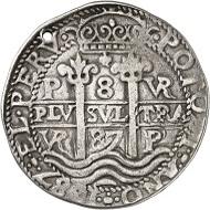 Los 1747: Bolivien. Carlos III., 1665-1700. 8 Reales 1687, Potosi. Ausbeute der Minen von Potosi. Sehr selten. Gelocht, sehr schön. Taxe: 500 GBP. Zuschlag: 8.000 GBP.