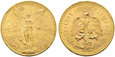 The historic model: 50 Pesos 1921, Mexico City. From e-auction Rauch 18 (2015), 1506.