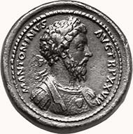 MARCUS AURELIUS, 161-180. Bronze medallion, 172-173. M ANTONINVS - AVG TR P XXVII Bust of Marcus Aurelius right, laureated, wearing cuirass adorned by head of Medusa. Rev. IMP VI COS III / VICT GERM Victory, in quadriga left. 58,41 g. MIR 1056. Gnecchi 63/7. C. 993. Brown patina.