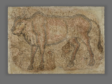 Bull. Roman, from Syria, possibly Emesa (present-day Homs), A.D. 400-600. Stone, 49 3/8 x 70 1/2 in. The J. Paul Getty Museum, Villa Collection, Malibu, California, Gift of William Wahler. 75.AH.117.