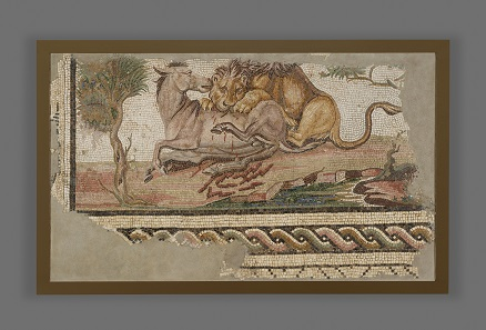 Lion Attacking an Onager. Roman, from Hadrumetum (present-day Sousse, Tunisia), A.D. 150-200. Stone and glass, 38 3/4 x 63 in. The J. Paul Getty Museum, Villa Collection, Malibu, California. 73.AH.75.