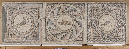 Hare and Birds with Geometric Designs (central panel, top and bottom border panels). Roman, from Antioch, Syria (present-day Antakya, Turkey), about A.D. 400. Stone, 99 1/2 x 168 in. The J. Paul Getty Museum, Villa Collection, Malibu, California. 70.AH.96.1-.3.