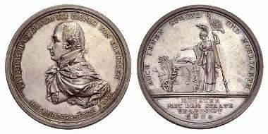 Königreich Preußen. König Friedrich Wilhelm III., reg. 1797-1840. Medaille (von Daniel Friedrich Loos) auf seine Huldigung (Silber). Berlin 1803.
