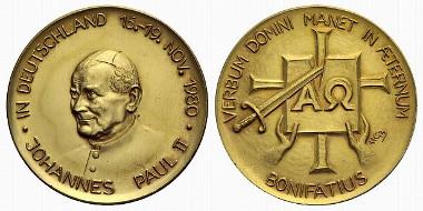 Papst Johannes Paul II., amt. 1978-2005. Medaille (von Heinrich Gerhard Bücker) auf seinen Besuch in Westfalen (Silber vergoldet). Idar-Oberstein 1980.