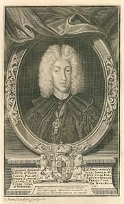 Bildnis des Clemens August von Bayern als Fürstbischof von Regensburg, Münster und Paderborn, o.J. (1719). Künstler: J. van Sanden (nach einem Gemälde von Antonio David).