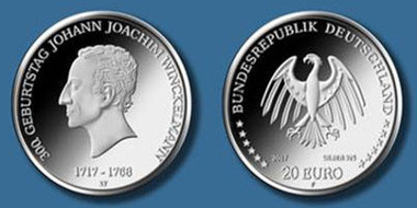 Die neue 20-Euro-Gedenkmünze auf den Kunsthistoriker Johann Joachim Winckelmann. Quelle: BADV.