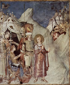St. Martin leaves the life of chivalry and renounces the army. Fresco by Simone Martini (c. 1284-1344).