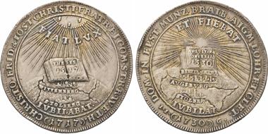 Los 1823: Stolberg. Christoph Friedrich und Jost Christian, 1704-1738. Reichs-Gedenktaler 1730, Stolberg. R. ss. Schätzpreis: 1.400 EUR.
