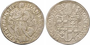 Los 1845: Trier. Erzbistum. Johann VII. von Schönenberg, 1581-1599. Reichstaler 1590, Mzst. Koblenz. RR. ss. Schätzpreis: 10.000 EUR.